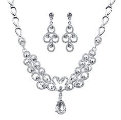 Jesming® Shining Clear Crystal Silver Plated Bridal Jewelry Sets Swan-shaped Necklace and Earrings JESMING http://www.amazon.com/dp/B01361NJ8O/ref=cm_sw_r_pi_dp_IyI7vb0V9WXYH