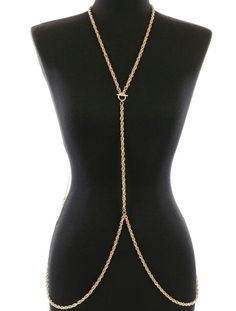 #Gold ROPE TOGGLE #BODYCHAIN Drape Statement Metal LINK CHAIN #Celebrity Inspired #FemaleFunk #Jewelry #Ebay!♥♥♥