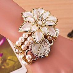 vrouwen ronde kwastje bloemen quartz hand bovenleiding horlo... – EUR € 13.99