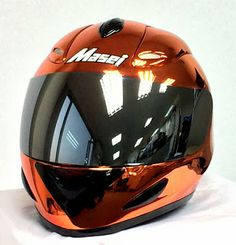 Custom Order Helmet Completed and Ready to ship tomorrow - Masei 802 Orange Chrome DOT & ECE Helmet - It took 2 months to complete this order and we rechromed the shell few times. Apologize for this delay.  We can take any custom order of size, color, and graphics, even for 1 unit. If interested, please contact us to sales@maseihelmets.com