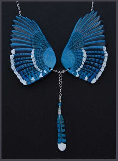 Blue Jay Wings - Leather Pendant - Beautiful and Creative Leather Jewelry by Wind Falcon