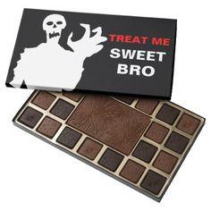 #Zombie Treat Me Sweet Bro funny Halloween black 45 Piece Box Of Chocolates - #Halloween happy halloween #festival #party #holiday