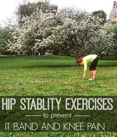 Fitness and Workout Tips 2017 : Hip Stability exercises for runners to prevent IT Band and Knee pain… Hip Strengthening Exercises, Stability Exercises, Knee Exercises, Scoliosis Exercises, Hip Stretches, Stability Ball, Hip Workout, Running Workouts, Running Tips