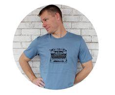 Vintage Typewriter Tshirt Men's Cotton Crewneck by CausticThreads #typewriter #writing #writer
