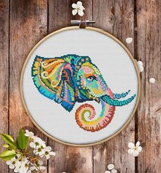 Mandala Elephant Cross Stitch Pattern for Instant Download