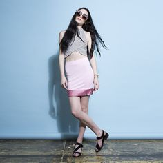 Pink Glitter Panel Mini Skirt