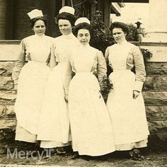 These #Mercy nurses are standing in front of a new building at the turn of the 20th century - the St. Edward Infirmary in Ft. Smith, Ark. #throwbackthursday #tbt
