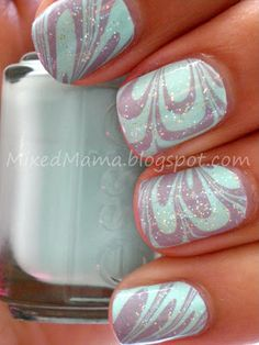 "Mint and lilac marble nails. ""For this water marble look I used Essie's Mint Candy Apple and Bangle Jangle. Once that was dry I then topped off the look with a coat of Jordana's Crystal Glitter. Fancy Nails, Love Nails, How To Do Nails, Pretty Nails, My Nails, Gorgeous Nails, Water Marble Nail Art, Marble Art, Nail Arts"