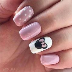 Make an original manicure for Valentine's Day - My Nails Disney Manicure, Disney Acrylic Nails, Cute Acrylic Nails, Art Nails, Nails For Disney, Minnie Mouse Nail Art, Mickey Mouse Nails, Disney Nail Designs, Nail Art Designs