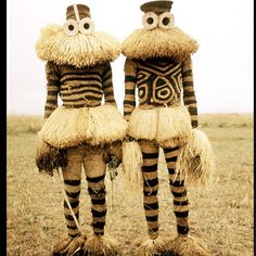 Minganji masqueraders from the Pende peoples, Republic of Congo, 1970