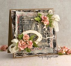 From Klaudia Szpunar, aka Kszp, in Switzerland. Paper Cards, Diy Cards, Flower Cards, Paper Flowers, Shabby Chic Cards, Engagement Cards, Look Vintage, Pretty Cards, Card Tags