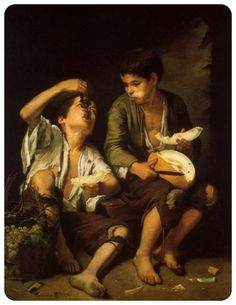 Bartolomé Esteban Murillo,  NIÑOS COMIENDO UVAS Y MELÓN (1650). Pinacoteca de Arte, Munich. óleo sobre tela, 145.6 x 103.6 cm.