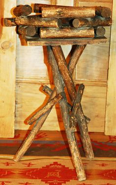 Twig table or plant stand is a great piece in the Adirondack style. A lovely little rustic table with big personality, a great vintage addition. luckystargallery.com $265 Sticks And Stones, Rustic Table, Custom Furniture, Business Ideas, Personality, Antiques, Big, Classic, Plants