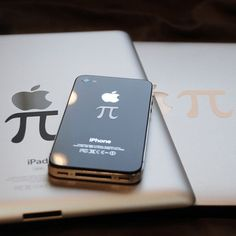 Pi Decal 3 Pack  by Ryan Orlick    Place the pi symbol next to your Mac logo and what do you get? A slice of good old-fashioned American dessert. These pi decals are made from high quality, technology-safe vinyl that applies easily and comes off cleanly, and includes one decal for your MacBook (in matte white), one for your iPhone (in glossy silver) and one for your iPad (in matte black). You can also geek out and stick one to a wall or window.