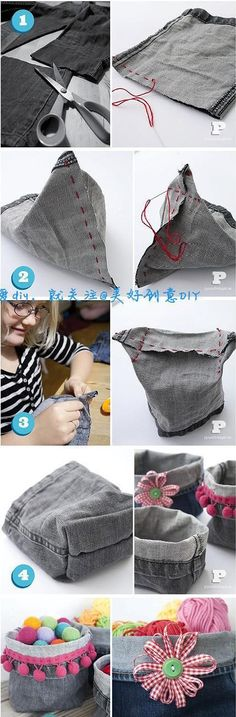 sewing projects using old jeans & projects using old jeans + sewing projects using old jeans + diy projects using old jeans Jean Crafts, Denim Crafts, Diy Jeans, Sewing Jeans, Jeans Pants, Trousers, Boys Pants, Fabric Crafts, Sewing Crafts