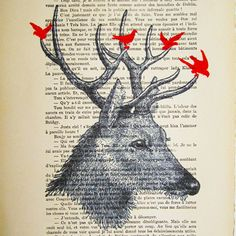 Deer with birds ORIGINAL ARTWORK Hand Painted Mixed by Cocodeparis, $10.00