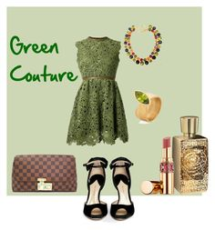 Green Couture by giubagnols on Polyvore featuring polyvore, fashion, style, Valentino, Paul Andrew, Louis Vuitton, Ilene Steele, Yves Saint Laurent, Lancôme and clothing