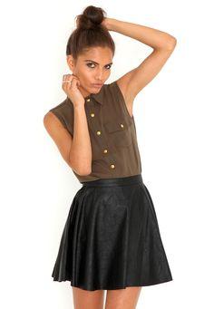 Emilie Leather Skater Skirt    #MGwinterwardrobe