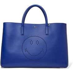 Anya Hindmarch - Ebury Perforated Leather Tote ($798) ❤ liked on Polyvore featuring bags, handbags, tote bags, royal blue, leather tote handbags, leather tote bags, leather purses, blue leather handbags and blue tote