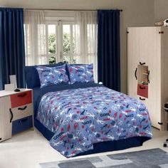 Blue Soccer Locker Comforter Set Football Bedding