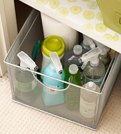 Cleaning Station  Bathrooms require a lot of storage for supplies. Use baskets to corral these items. Pile supplies in a pretty basket, and slide it out of sight. Make sure to choose a basket that won't be damaged by water or chemicals.