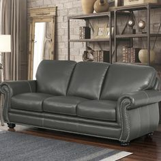 Tips That Help You Get The Best Leather Sofa Deal. Leather sofas and leather couch sets are available in a diversity of colors and styles. A leather couch is the ideal way to improve a space's design and th Grey Leather Sofa, Rolled Arm Sofa, Furniture, Couches Living Room, Grey Leather Armchair, Abbyson Living, Best Sofa, Sofa Deals, Sofa Design