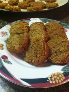 THM (FP) Pumpkin Spice Cookies: Preheat oven to 350. Mix together ½ Cup Oat Fiber,1 tsp. Gluccie, ¼ tsp. Salt, ½ tsp. B Soda, 3 Shakes Cinnamon, 2 Shakes Pumpkin Pie Spice, 1 Scoop Protein Powder and ¼- ½ C Sweetener, then add ¼ cup Egg White, ¼ tsp. Maple Extract, ½ tsp. Vanilla Extract, ½ Cup Canned Pumpkin, 1 Tbsp. Melted Refined Coconut Oil. Make 24 scoop cookies. Bake for 18 minutes then press them flat.