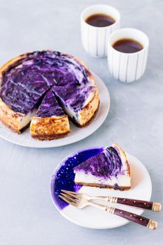 Vegan Baked Lemon Blueberry Cheesecake (nut free, dairy free & high in protein) - perfect recipe for a summery tea time in the garden or balcony! | www.myvibrantkitchen.com