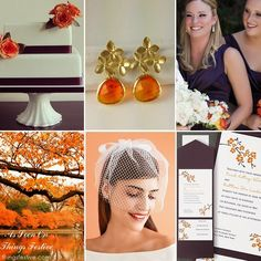 fall cherry blossom wedding theme in orange and aubergine #wedding #fallwedding #cherryblossomwedding #cherryblossom