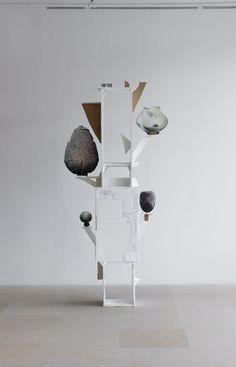 Gedi Sibony Eight More Petals, 2013 Wood, foam core, cardboard, paper, tape 97 x 44 x 18 inches (246.4 x 111.8 x 45.7 cm)