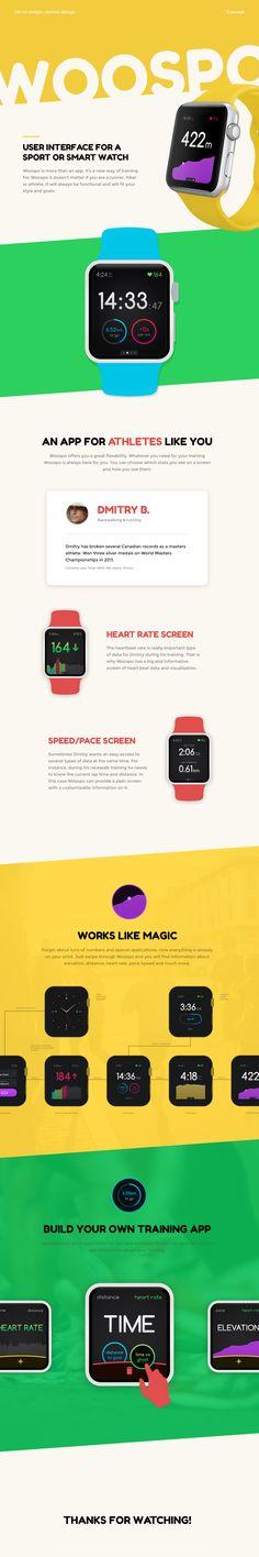 Woospo (UX/UI design for a sport watch app). #UI #UX #Design #Watch #Motion #Animation #Behance #Portfolio #Minimal #Flat #Freebie #Interface