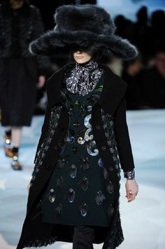 FW12 - Zuzanne: Hologram Tweed Coat;  Appliquéd Double-Faced Shetland Dress  Blouse;  Satin Pant;  Lurex Argyle Sock;  Ostrich Shoe;  Fox Hat