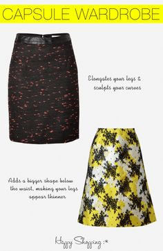 capsule wardrobe and shopping guide for hourglass shaped women. these are the styles of skirts that flatter you and we tell you why!