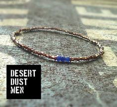 Dyed sapphire for men, Mens bracelet with dyed sapphire by DESERTDUSTMEN on Etsy