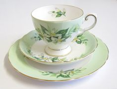 "Vintage Tea Trio, Tuscan China, ""Bridal Flower"", Green and White"