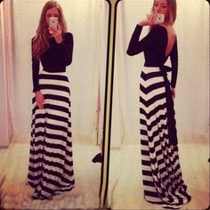This stylish formal dress is essential for your wardrobe. Classical stripe print long loose dress, with sexy backless. Long sleeves that make the dress can wear all season.