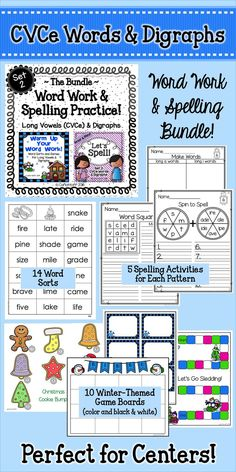 Build decoding and spelling fluency with long vowels (CVCe words) and digraphs with the games and printables in this fun set!  Great for centers!