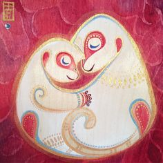 "Monkey Love - Celebrate the Year of the Monkey and Valentine Day!! ""Loving Hug - 6 x 6 inch watercolor on birch wood. It includes a gift of a special edition Gudetama New Year good luck charm from Hong Kong.  If interested pls lease email - Alina.chau@gmail.com  by alinachau"
