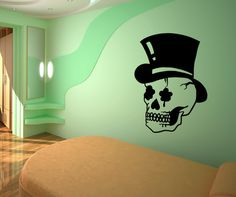 Vinyl Wall Decal Sticker Skull with Top Hat #OS_MB751 | Stickerbrand wall art decals, wall graphics and wall murals.