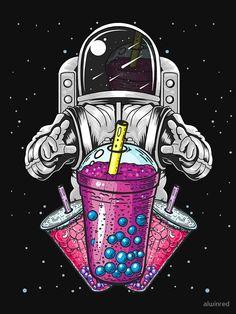 """Astronaut Bubble Tea Design For Boba Milk Tea Lovers"" T-shirt & Sticker Design Astronaut Illustration, Space Illustration, Pop Art Wallpaper, Galaxy Wallpaper, Space Drawings, Art Drawings, Tea Design, Design Art, Astronaut Wallpaper"