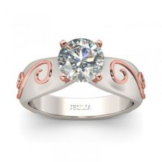 Cirrus Inlaid 2-tone Round Cut Created White Sapphire Rhodium Plating Sterling Silver Engagement Ring - #jeulia - #Couponcode - #sale