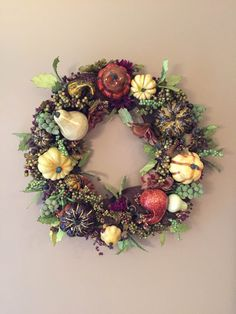 Fall Wreath Autumn Wreath Early Harvest by LuckySophieCrafts. This wreath is beautiful. Perfect for Fall and Thanksgiving! Autumn Wreaths, Gourds, Fall Decor, Harvest, Thanksgiving, Seasons, Halloween, Unique Jewelry, Handmade Gifts