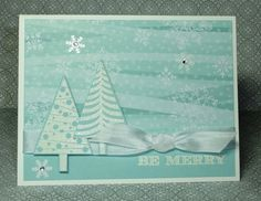 Beautiful card using Festival of Trees stamp set and punch from Stampin' Up!.