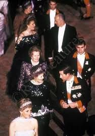 Proceeding to a state dinner-Diana, Charles, Andrew, Margaret Thatcher, Fergie