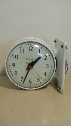 industrial decor clock very heavy white iron large vintage hanging wall wiring two sided by brittylove