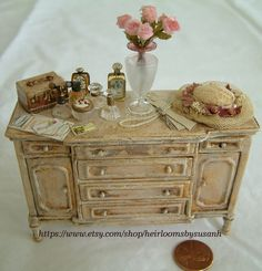 Miniature Ladies 1:12 scale dresser with aged gold leaf finish
