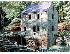 """Shadows Pattern an Old Stone Mill in This Original Watercolor, """"The Stone Mill"""" by Phillip Hilton"""