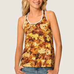 Gold yellow fall maple leaves Lady's all over print tank top by #PLdesign #fallgift #customizable #zazzle