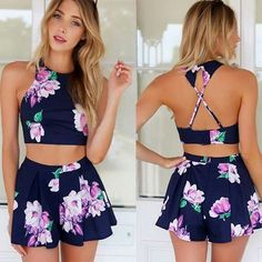 2015 Summer Casual Playsuit Outfits Crop Tops Shorts Macacao Feminino Backless Rompers Womens Jumpsuit S,M,L,XL 38 Short Beach Dresses, Sexy Dresses, Casual Dresses, Cheap Dresses, Party Dresses, Formal Dresses, Two Piece Dress, Two Piece Outfit, Crop Top And Shorts