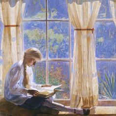 1918 The Orchard Window ~ Daniel Garber ~ (American, 1880 - 1958)